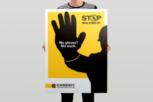 Construction site safety signage design by Angle Limited for Cassidy A1 corflute signs
