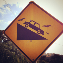 A funny sign photographed by Angle limited on Waiheke Island, New Zealand