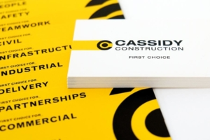 Cassidy Construction brand and business cards designed by Angle Limited Auckland