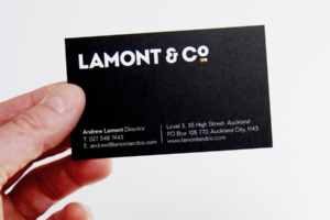 Lamont & Co brand, logo and business cards designed by Angle Limited