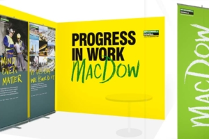 Recruitment campaign by Angle Limited McConnell Dowell careers stand brochure