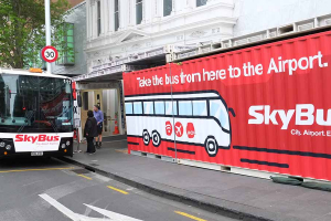 Shipping container signage design by Angle Limited for SyBus Queen Street Auckland 2