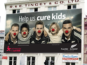 Angle Limited Auckland Advertising services Billboard design example for Cure Kids Red Nose Day