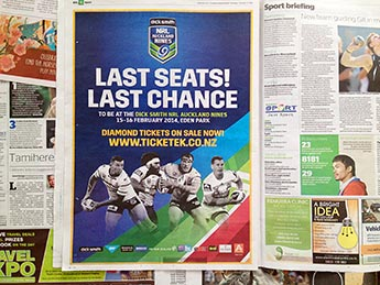 Angle Limited Auckland Advertising services NRL Auckland Nines press advertising example
