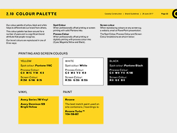 Angle Limited Auckland Branding services Brand guidelines example Cassidy Construction brand colour page example