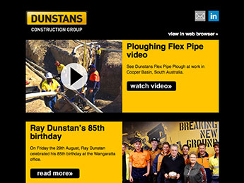 Angle Limited Auckland Email newsletter design service Dunstans email newsletter example