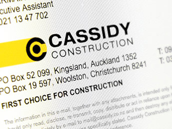 Angle Limited Auckland Email signature design service Cassidy Construction email signature example