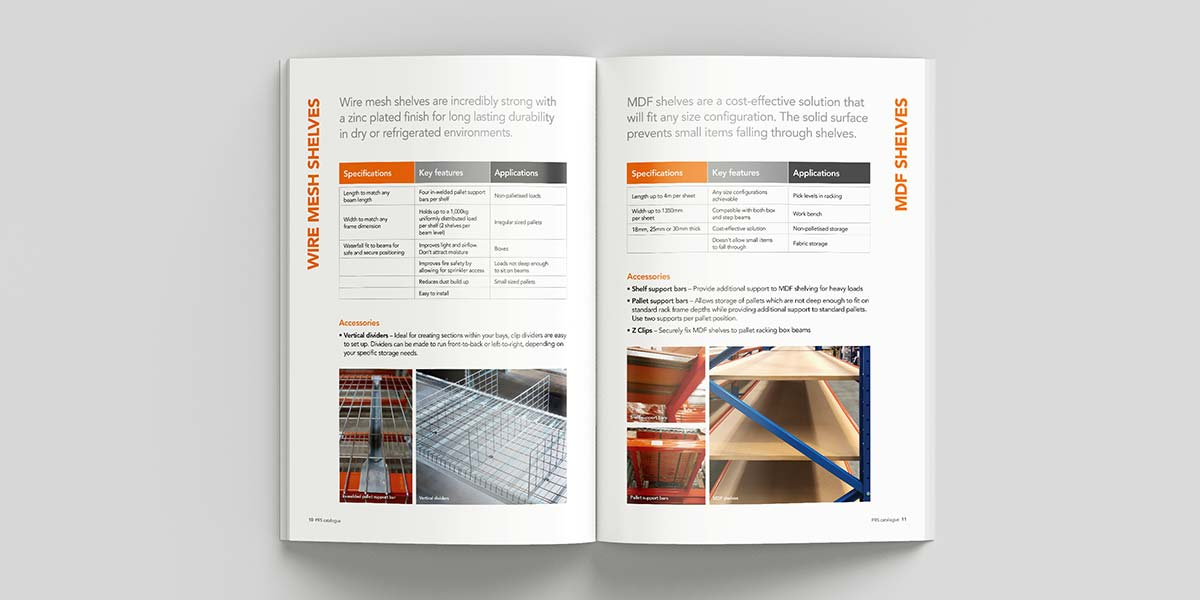 Catalogue design for Pallet Racking Solutions designed by Angle Limited