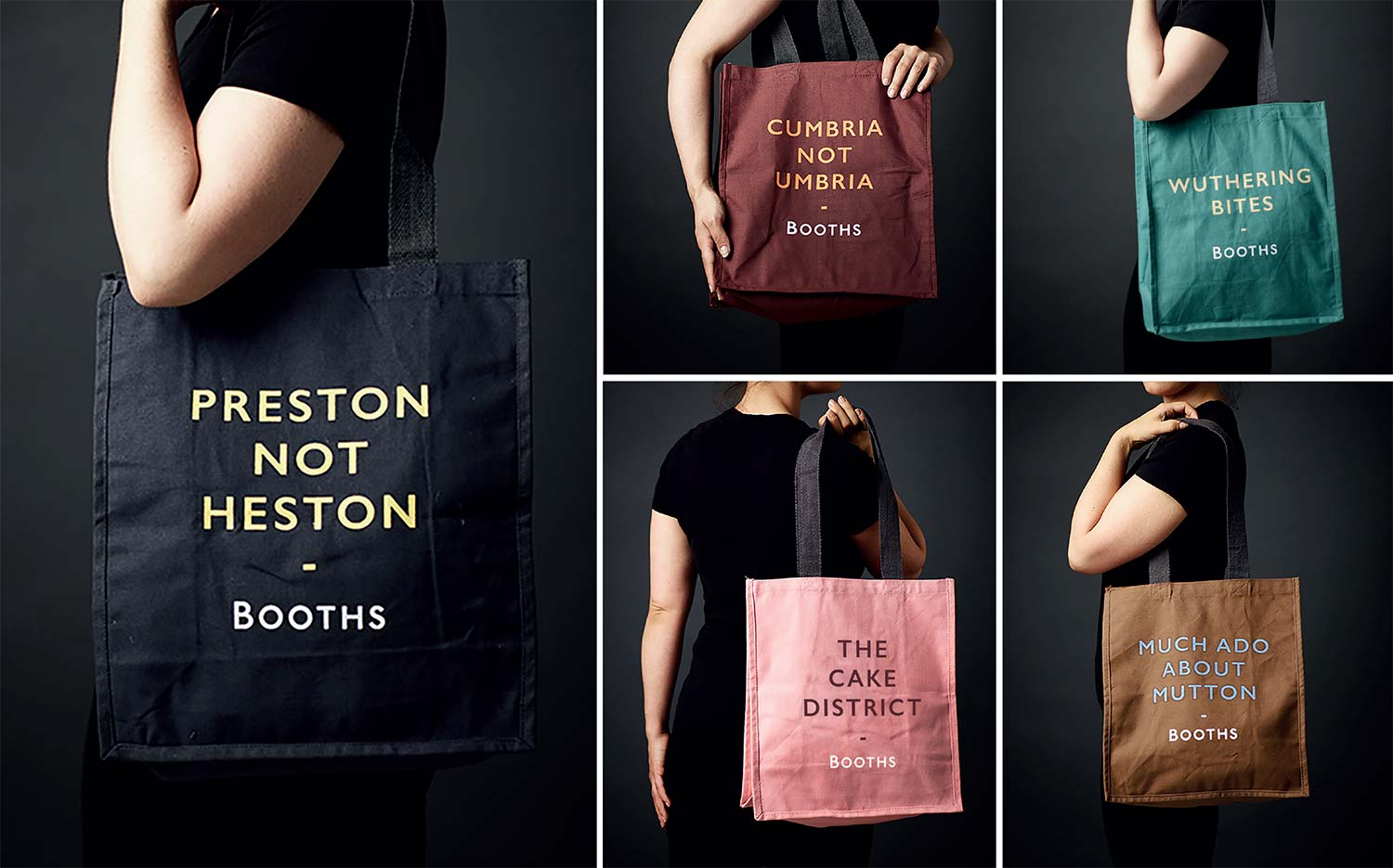 Booths shopping bags demonstrate design thinking + ideas