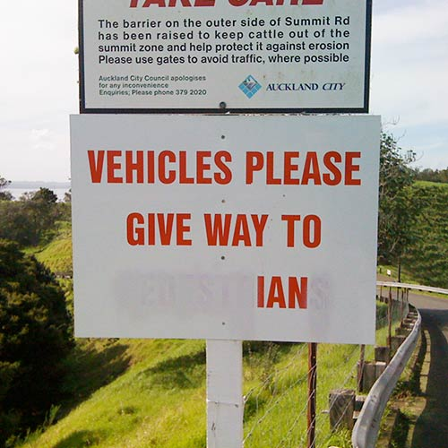 Give way to Ian sign on Mt Eden, Auckland, photographed by Angle Limited