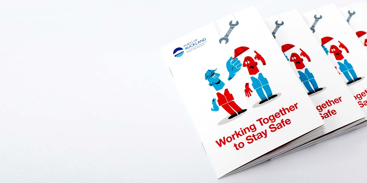 Graphic design for print Angle Limited Auckland Ports of Auckland brochure