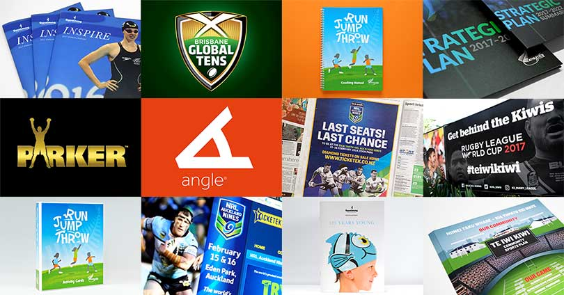 New Zealand sports branding by Angle Limited Auckland montage of work